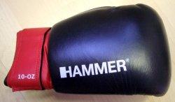 Hammer Leder-Boxhandschuh aus Rindsleder - 10oz - schwarz/rot