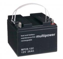 Blei/Säure-Akku Multipower MP28-12C 12 Volt, 28 Ah, 11,5 kg AGM-Technologie ( Vlietechnik), für Elektrobootsmotoren, Elektrorollstühle