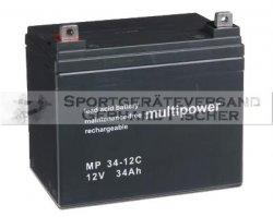 Blei/Säure-Akku Multipower MP34-12C 12 Volt, 34 Ah, 11 kg AGM-Technologie(Vließtechnik), für Elektrobootsmotoren, Elektrorollstühle