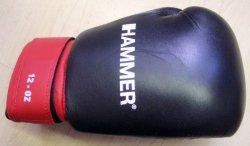 Hammer Leder-Boxhandschuh aus Rindsleder - 12oz - schwarz / rot