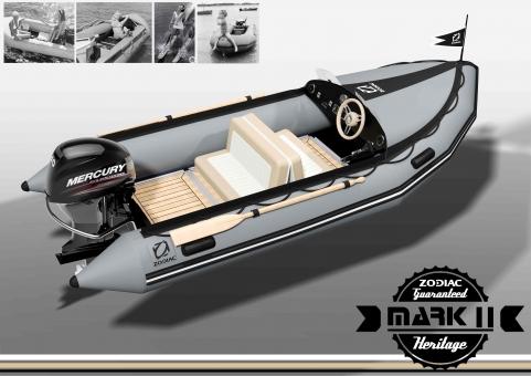 Zodiac Heritage Mark II Sport-Schlauchboot -Komplettpreis - mit Spritzdecke + Windschutzscheibe. Steuerung, Doppel-Sitzbank